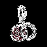 """Срібна намистина Pandora """"Яскравий червоний диск"""" 799186C03, фото 2"""