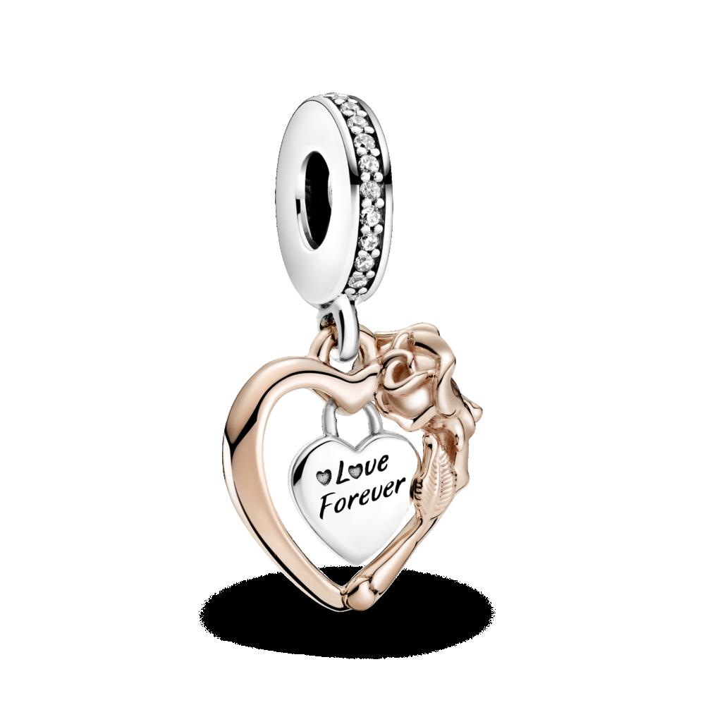 """Серебряный шарм Pandora """"Сердце и роза"""" 789290C01"""