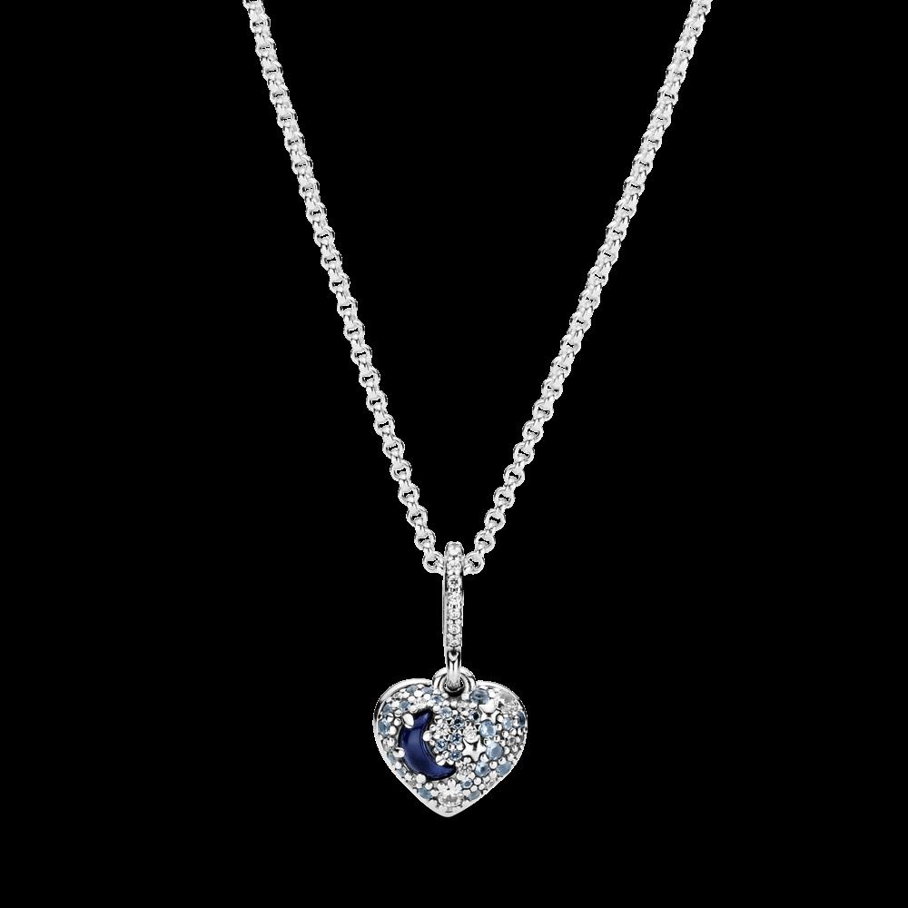 """Срібне намисто Pandora """"Блискучий синій місяць і зорі"""" 399232C01"""