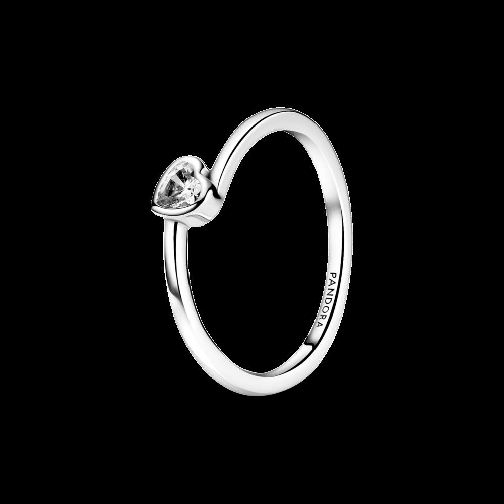 """Срібна каблучка Pandora """"Прозоре асиметричне серце"""" 199267C02"""