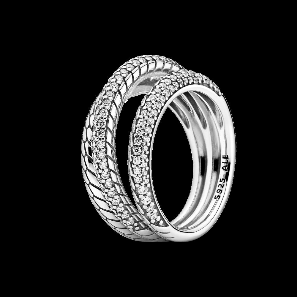 Срібна каблучка Pandora з ланцюговим орнаментом 199083C01