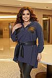 Женский нарядный костюм двойка туника+легенсы софт+эко кожа размер батал: 50-52, 54-56, 58-60, фото 6