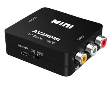 Конвертер MINI, AV в HDMI (3 гнезда RCA (IN) - гнездо HDMI (OUT)), чёрный