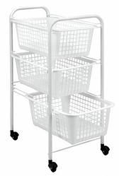 Этажерка 3-х уровневая с пластиковыми корзинами и пластиковым покрытием основы Metaltex 341803 White