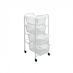 Этажерка 4-х уровневая с корзинами и пластиковым покрытием METALTEX Miami 341804 30x38x83 см White