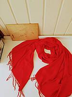 Женский красній вискозній шарф c бахромой  Alexika