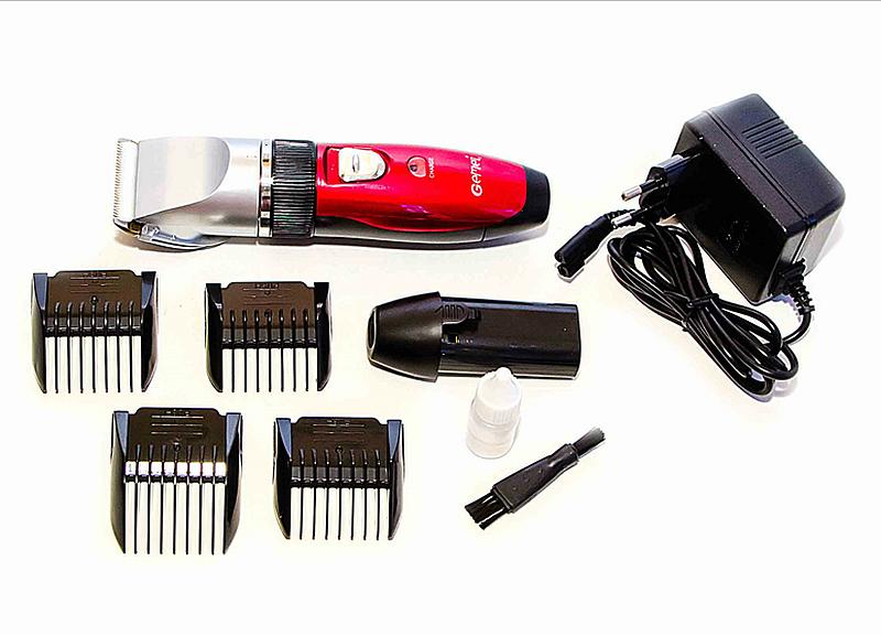 Професійна акумуляторна машинка для стрижки Geemy Gm-6001, red