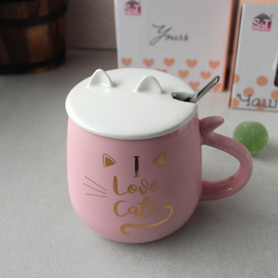 Большая розовая кружка с ложкой в подарочной упаковке Pussy cat Love 400 мл
