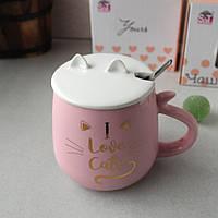 Большая розовая кружка с ложкой в подарочной упаковке Pussy cat Love 400 мл, фото 1