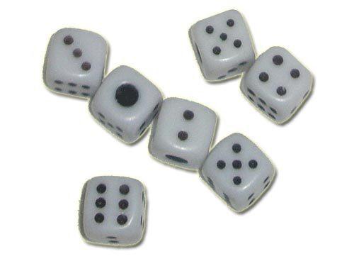 Кубик игральный белый. В упаковке 100 шт. №9