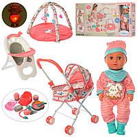 Кукла-пупс 89826, 36 см, стульчик для кормления, прогулочная коляска, развивающий коврик, аксессуары, фото 1