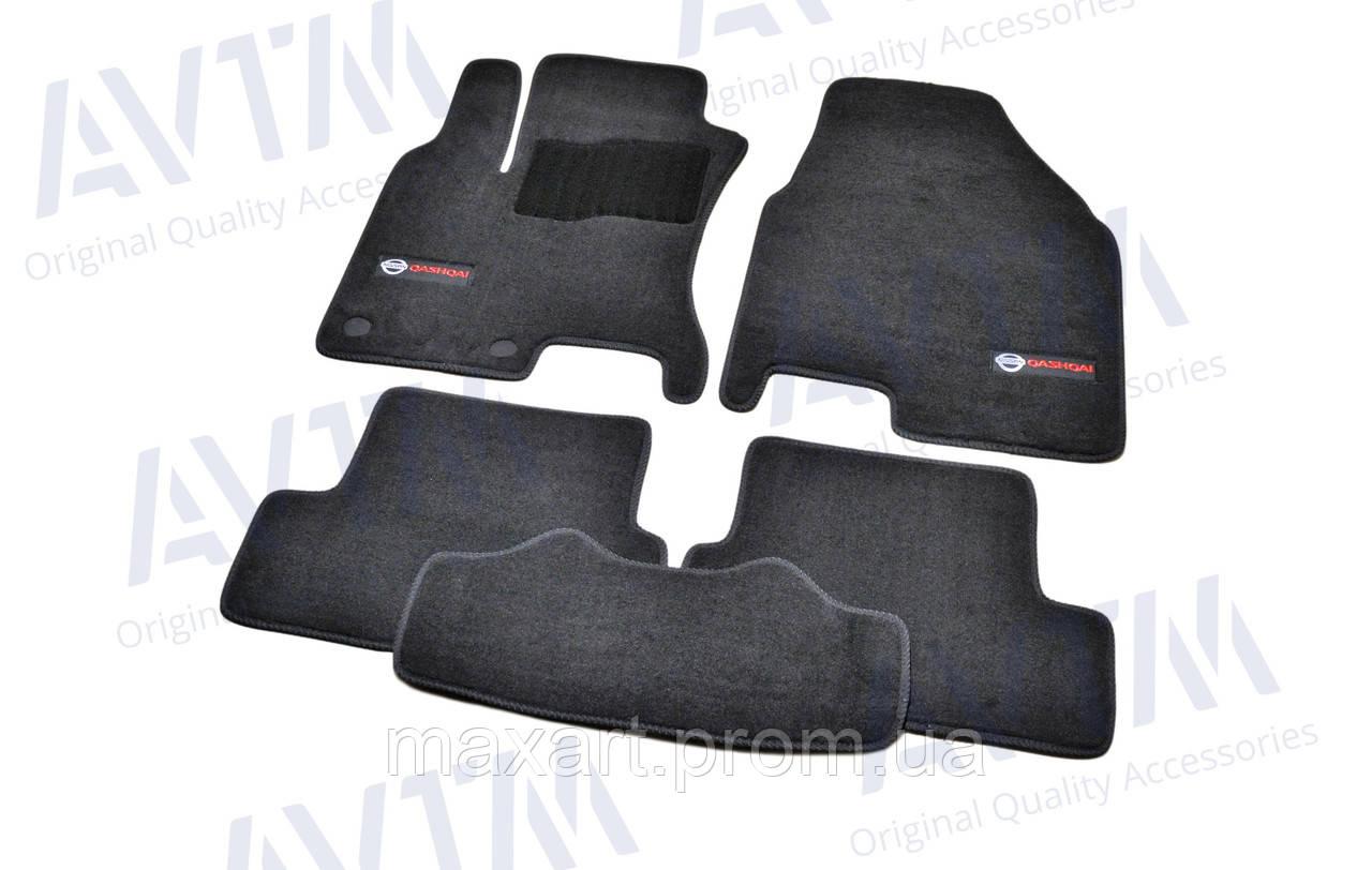 Коврики в салон ворсовые AVTM для Nissan Qashqai (2007-2013) /Чёрные Premium BLCLX1424
