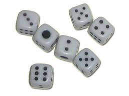 Кубик игральный белый. В упаковке 100 шт. №12