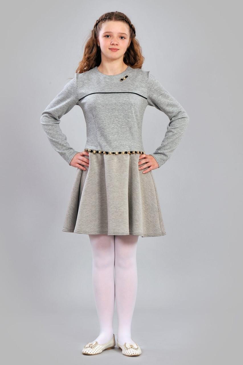 Эффектное детское платье светло серого цвета с декоративным элементом 0924daa17da