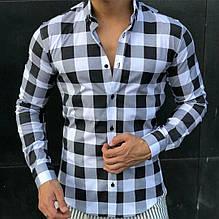 Рубашка мужская в черно-белую клеткустрейч- коттон пр-во Турция О Д