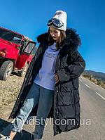 Довгий пуховик жіночий, модна зимова куртка з великим хутряним коміром 2 кол