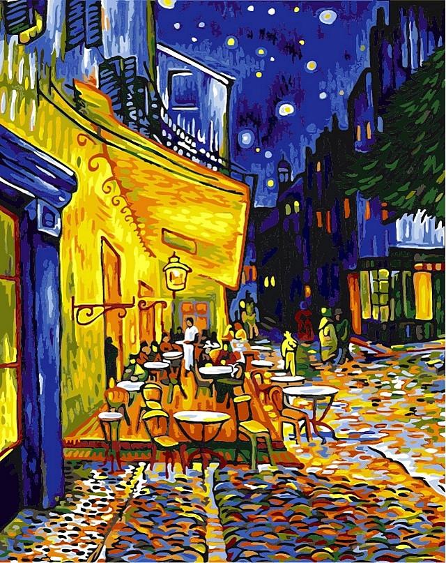 Набор-раскраска по номерам Ночная терраса кафе. худ Ван Гог Винсент
