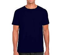 Мужская нательная футболка однотонная из качественного турецкого трикотажа, цвет темно-синий