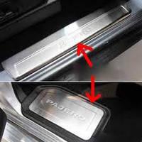 Накладки на пороги в салон Mitsubishi Pajero 2006-2012, фото 1