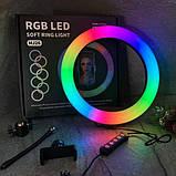 Кільцева лампа зі штативом RGB 33 см Світлодіодна LED лампа Кільцевої світло Різнобарвна лампа для блогера, фото 6