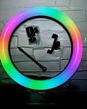 Кільцева лампа зі штативом RGB 33 см Світлодіодна LED лампа Кільцевої світло Різнобарвна лампа для блогера, фото 8
