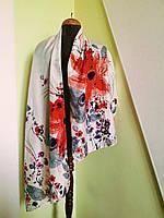 Женский  шелковый шарф в цветы    Solar