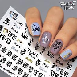 Слайдер-дизайн Написи Етикетки ІЄРОГЛІФИ на нігті водні наклейки для дизайну нігтів Fashion Nails G65