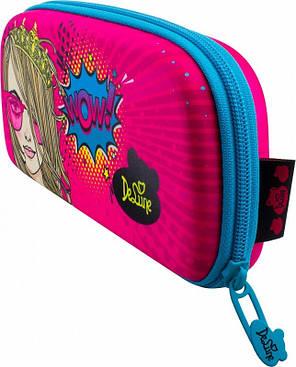 Пенал шкільний на блискавці для дівчинки з малюнком Дівчина DeLune D-848, фото 2