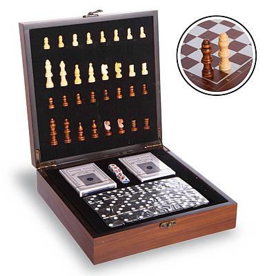 Шахматы, домино, карты 3 в 1 набор настольных игр деревянные W2650 Brown (SP00070)