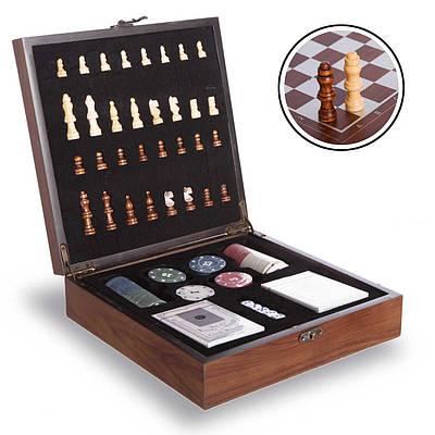 Шахматы, покер 2 в 1 набор настольных игр деревянные W2624 Brown (SP00072)