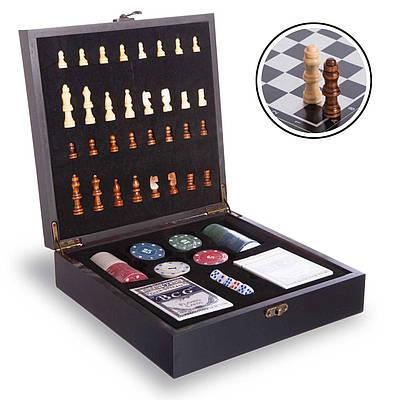 Шахматы, покер 2 в 1 набор настольных игр деревянные W2624 Black (SP00071)