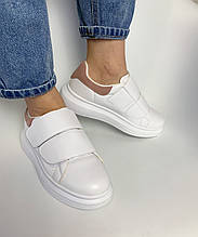 Женские белые кроссовки на липучках с розовым задником