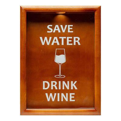 Копилка для винных пробок 38х28 см Save Water drink wine BST PRK-52 Орех