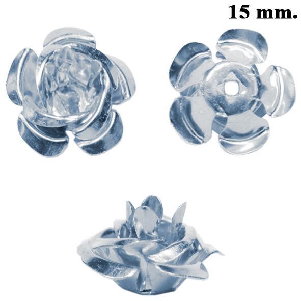 Набор Пайетки Розы Объемные Серебристые 20 штук Диаметр 15 мм для Рукоделие