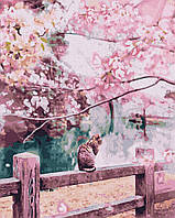Картина по номерам Котик в цветущей сакуре, размер 40*50 см, зарисовка полная, на подрамнике