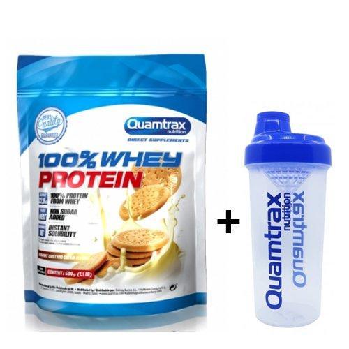 Сывороточный протеин QUAMTRAX Whey Protein 0.5 kg АКЦИЯ + Шейкер