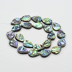 Бусины Морской Перламутр Абалон, Капля, Цвет: Разноцветный, Размер: 18x13x4мм, Отверстие 1мм, около