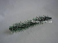 Ветка ели зеленая с белым ,иголочки-мягкий пластик (19-21 см)
