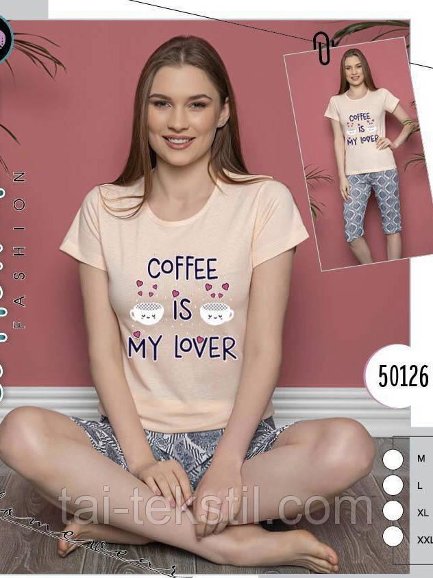 Пижама женская комплект футболка и бриджи хлопок 100 %  № 50126