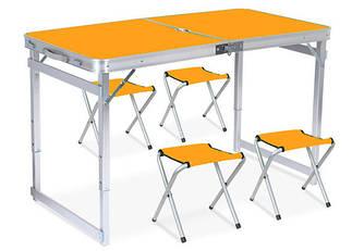 Стол для пикника раскладной со 4 стульями 120х60х55(70) см 3 режима высоты (Усиленный) Orange (13311