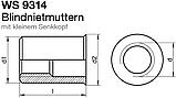 WS 9314 : нержавеющая гайка клепальная с маленьким потайным буртиком, фото 2