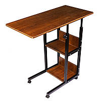 Прикроватный столик Sky для завтрака и ноутбука на колесиках с дополнительными полками Коричневый (5901)