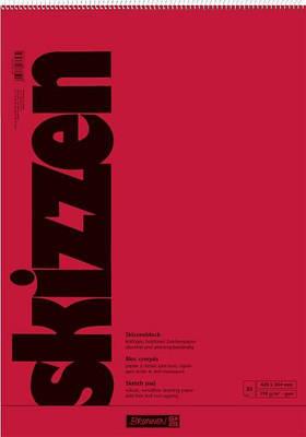 Скетчбук А2 Brunnen верхняя спираль красная обложка 110 г/м2, 30 листов (1047251)