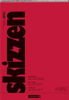 Скетчбук 34 х 48  Brunnen верхняя спираль красная обложка 110 г/м2, 50 листов (1047351)