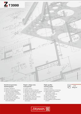 Альбом для эскизов и макетов А3 Brunnen клеенный блок  обложка Chromolux прозрачная бумага 90 г/м2 50 листов