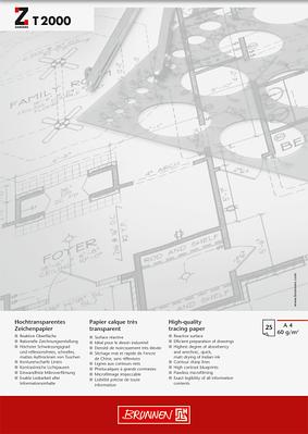 Альбом для эскизов и макетов А4 Brunnen клеенный блок  обложка Chromolux прозрачная бумага 60 г/м2, 25 листов