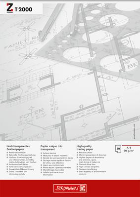 Альбом для эскизов и макетов А4 Brunnen клеенный блок обложка Chromolux прозрачная бумага 90г/м2, 50 листов