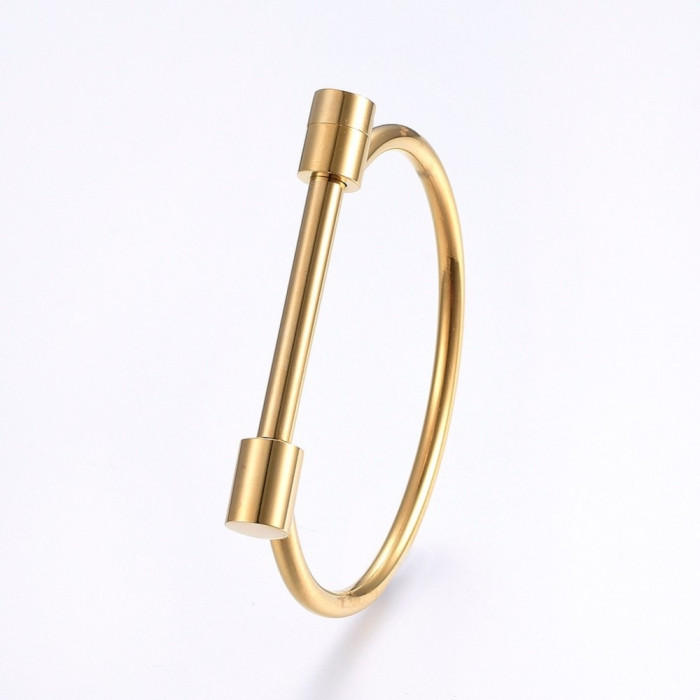 Браслет из Нержавеющей Стали 304, Цвет: Золото, Размер: Внутренний диаметр 63x47мм, Ширина 4~9мм, Соединение: