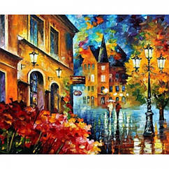 """Картина по номерам """"Ночные улицы"""", Холст на Деревянном подрамнике, Акриловые Краски, Кисти, Размер: 30х40см, 1"""