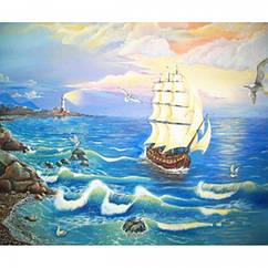 """Картина по номерам """"Корабль"""", Холст на Деревянном подрамнике, Акриловые Краски, Кисти, Размер: 30х40см, 1 шт"""